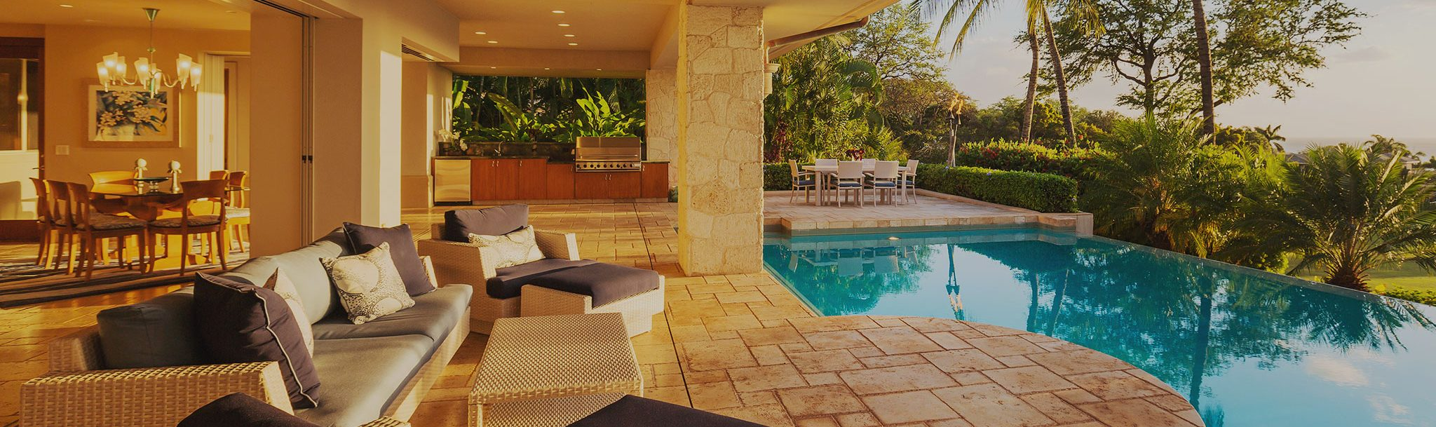 Pool in nice home cleaned by groundskeeper